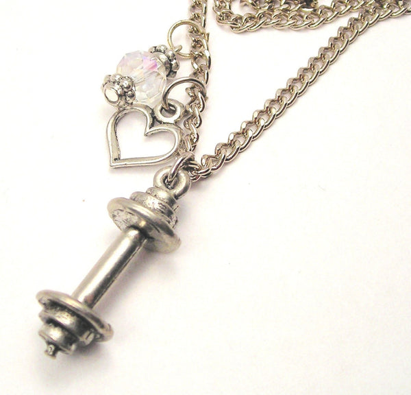 Barbell Necklace with Small Heart