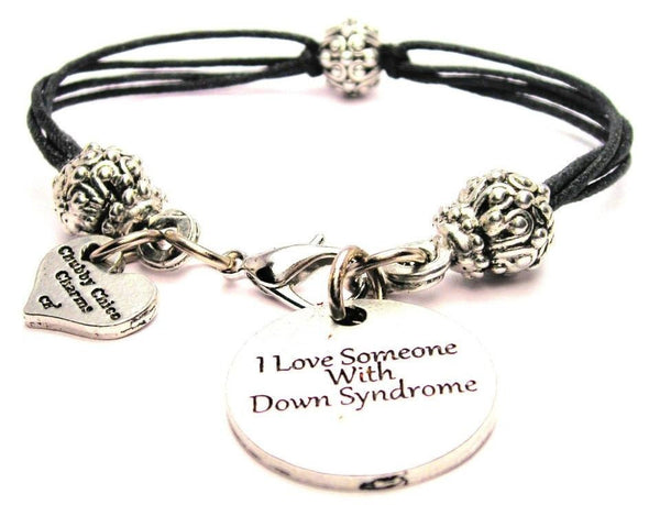 I Love Someone With Down Syndrome Beaded Black Cord Bracelet