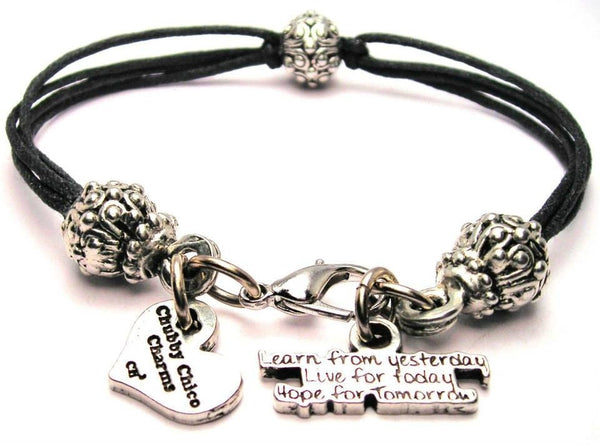 Learn From Yesterday Live For Today Hope For Tomorrow Beaded Black Cord Bracelet