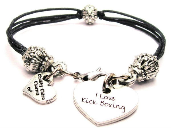 I Love Kick Boxing Beaded Black Cord Bracelet