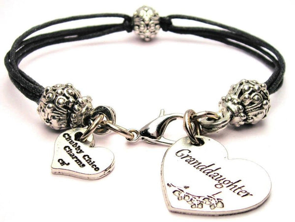 Granddaughter Heart Beaded Black Cord Bracelet