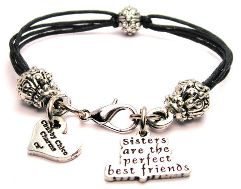 Sisters Are The Perfect Best Friends Beaded Black Cord Bracelet