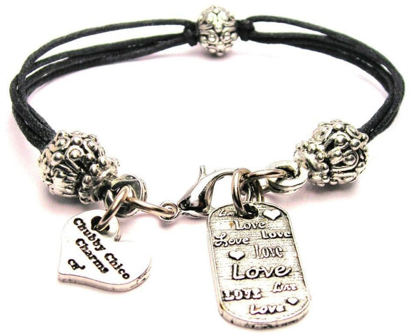 Love Love Love Dog Tag Beaded Black Cord Bracelet