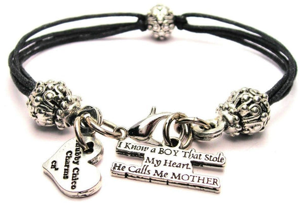 I Know A Boy That Stole My Heart He Calls Me Mother Beaded Black Cord Bracelet