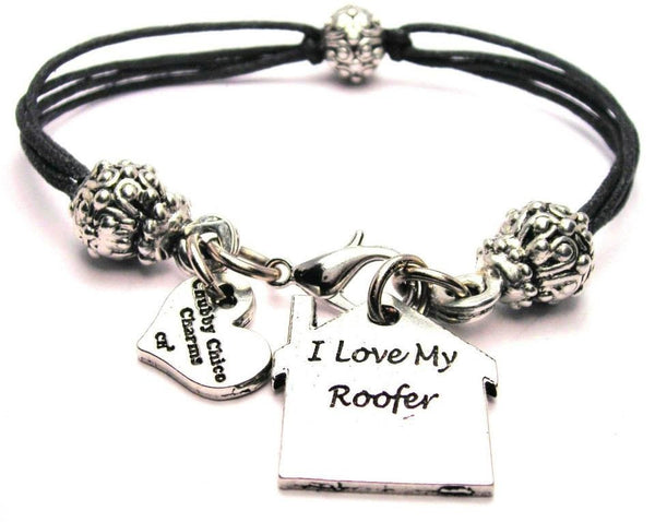 I Love My Roofer Beaded Black Cord Bracelet