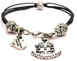 I Wear This For The One I Love Autism Awareness Beaded Black Cord Bracelet