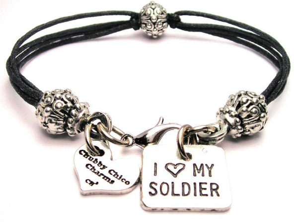 I Love My Soldier Square Beaded Black Cord Bracelet