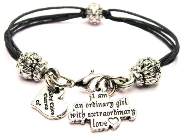 I Am An Ordinary Girl With Extraordinary Love Beaded Black Cord Bracelet