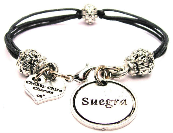 Suegra Mother In Law Spanish Beaded Black Cord Bracelet