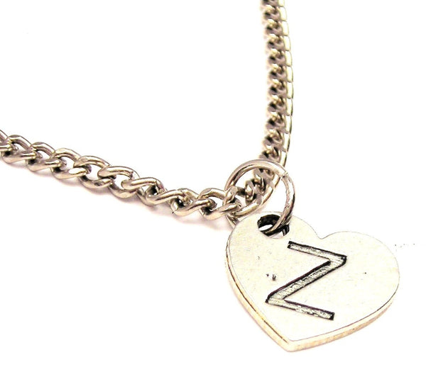 Heart Shaped Initial Z Single Charm Necklace