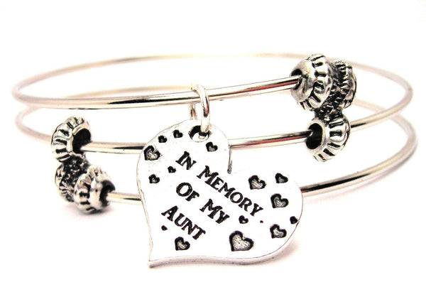 In Memory Of My Aunt Triple Style Expandable Bangle Bracelet