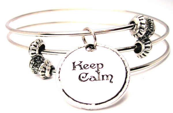 Keep Calm Triple Style Expandable Bangle Bracelet