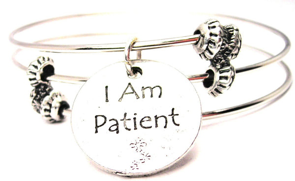 I Am Patient Triple Style Expandable Bangle Bracelet