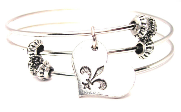 Heart With Fleur De Lis Triple Style Expandable Bangle Bracelet