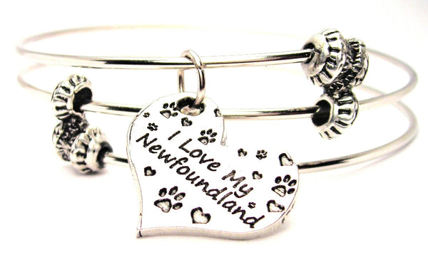 I Love My Newfoundland Heart Triple Style Expandable Bangle Bracelet