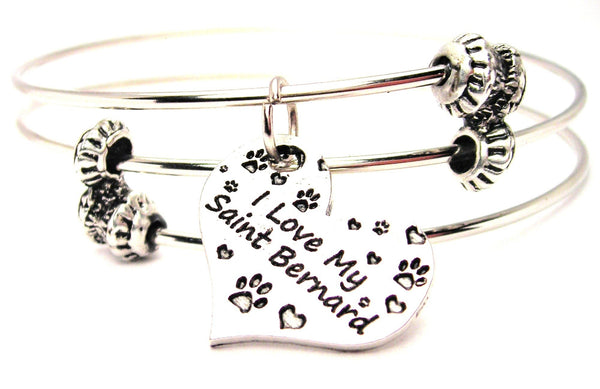 I Love My Saint Bernard Triple Style Expandable Bangle Bracelet