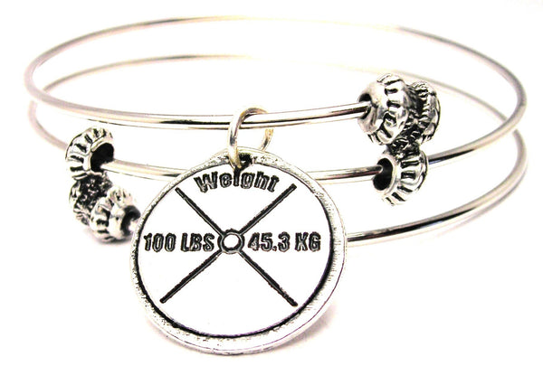 100 Lb Weight Triple Style Expandable Bangle Bracelet - Bracelets - Chubby Chico Charms