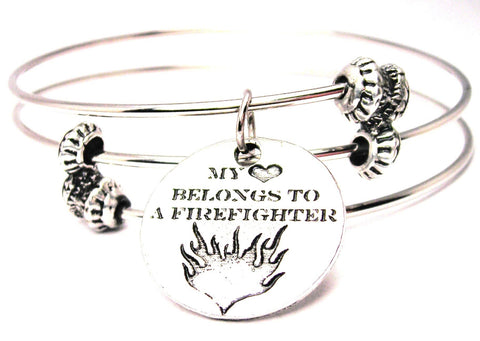 My Heart Belongs To A Firefighter Circle Triple Style Expandable Bangle Bracelet