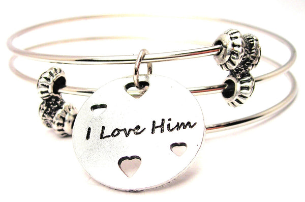 I Love Him With Hearts Triple Style Expandable Bangle Bracelet