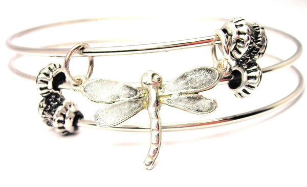Dragonfly Hand Painted Triple Style Expandable Bangle Bracelet