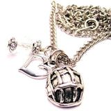 Army Soldiers Helmet Necklace with Small Heart