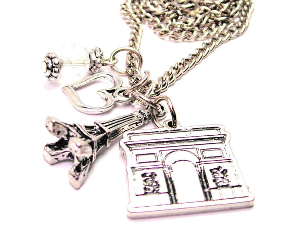 French Arc De Triomphe Detailed With Eiffel Tower Necklace with Small Heart