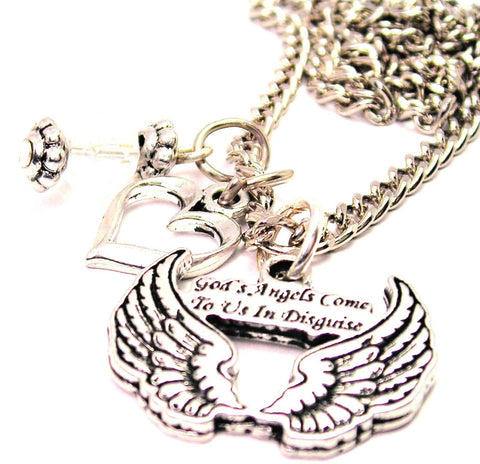 Gods Angels Come To Us In Disguise Necklace with Small Heart