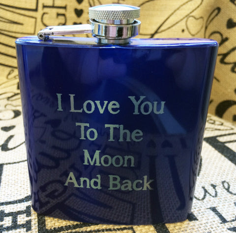 I Love You To The Moon And Back Metallic Flask,  Flasks,  Alcohol