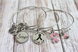 Breast Cancer Awareness Ribbon Never Give Up Strength Trio Expandable Bangle Bracelet Set
