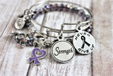 3 Bracelet Set Fibromyalgia Awareness Ribbon Never Give Up And Strength Expandable Bangle Bracelet Splash Of Color Set