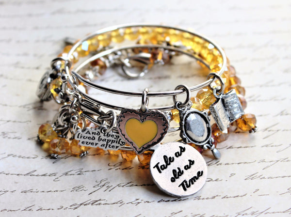 Tale As Old As Time, Rose, Teapot, Book, Mirror Belle Inspired Set Splash Of Color And Bangle Bracelets