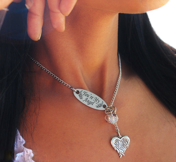 You're My Angel With Heart Shaped Angel Wings Lariat Necklace
