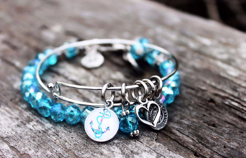 Splash Print Anchor Resin Charm Expandable Bangle And Splash Of Color Bracelet Set