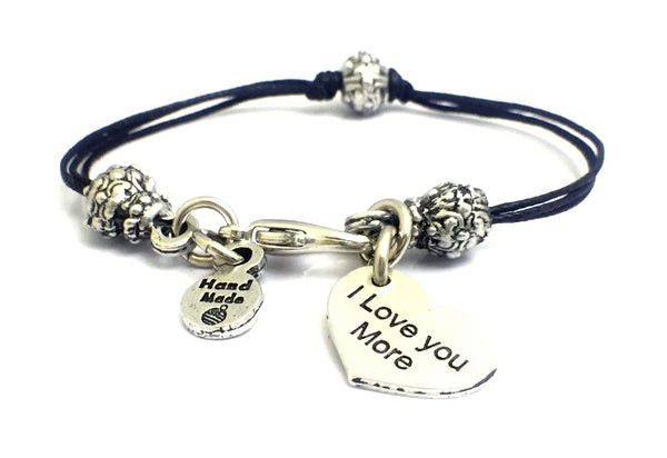 I Love You More Heart Beaded Black Cord Bracelet