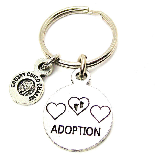 Adoption With Hearts And Footprints Standard Key Chain