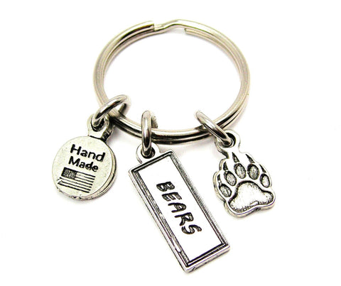 Bear Paw With Bears Tab Key Chain