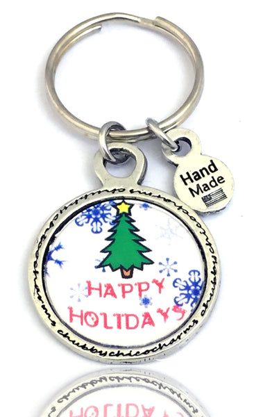 Happy Holidays Framed Resin Key Chain