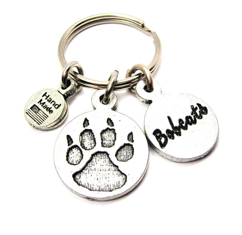 Furry Paw With Bobcats Circle Tab Key Chain