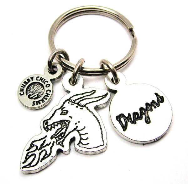 Dragon Head With Dragons Circle Key Chain