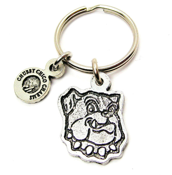 Silly Bulldog Face Standard Key Chain