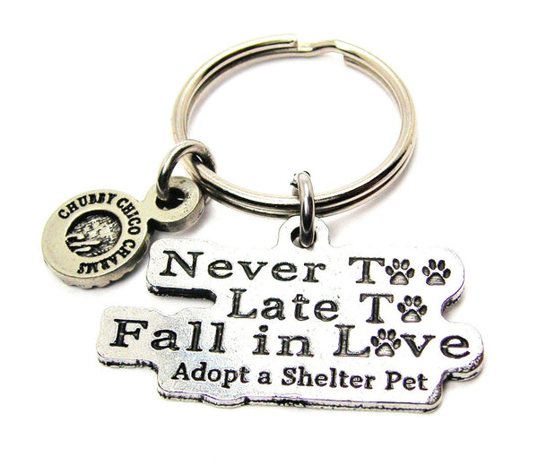 Never Too Late To Fall In Love Adopt A Shelter Pet Standard Key Chain