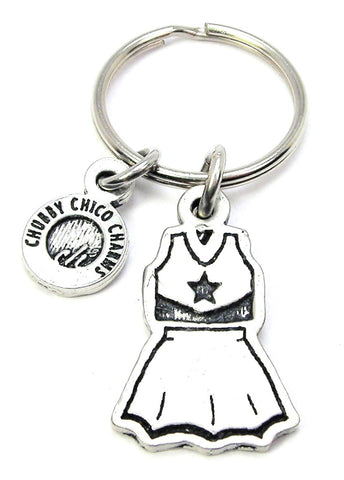 Cheerleader Uniform Key Chain School Sports Football