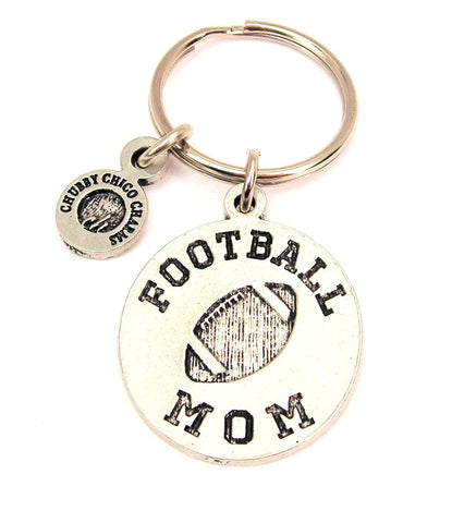 Football Mom Circle Key Chain
