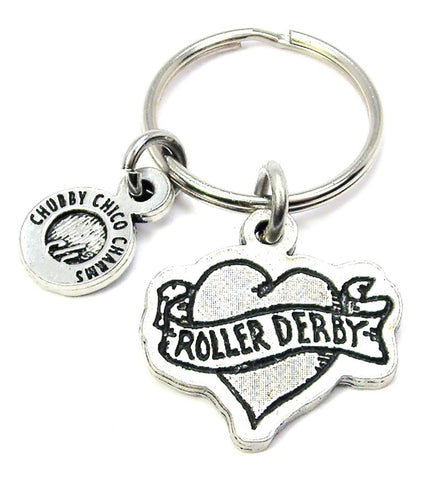 Roller Derby Tattoo Heart Key Chain