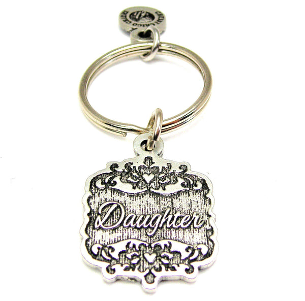 Daughter Victorian Scroll Key Chain