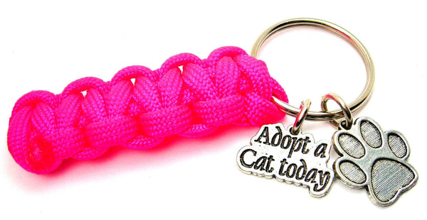 Adopt A Cat Today With Paw Print Paracord 550 Military Spec Paracord Key Chain