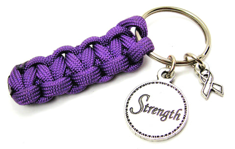 Strength Circle With Awareness Ribbon Paracord 550 Military Spec Paracord Key Chain