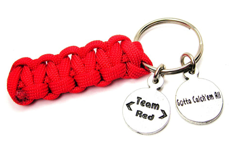 Pokémon Team Red - Valor Gotta Catch Em All Paracord 550 Military Spec Paracord Key Chain