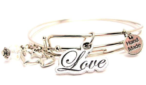 Cursive Love Expandable Bangle Bracelet Set