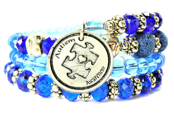 Autism Awareness Circle Multi Wrap Bracelet